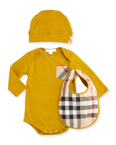 Burberry Playsuit, Hat, and Bib Set, Burnt Yellow