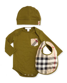 Burberry Playsuit, Hat, and Bib Set, Dark Lime, 3M-2Y
