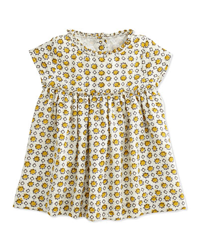Burberry Hammered Print Silk Dress, Yellow, 3M-3Y