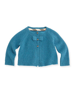 Burberry Ribbed Cardigan with Bow, Bright Turquoise, 3M-2Y