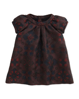 Burberry London-Inspired Jacquard Dress, Deep Claret, 2Y-3Y