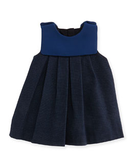 Pindot Dress with Crepe Detail, Dark Ink