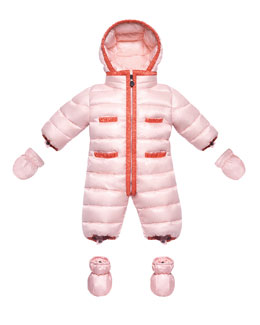 Moncler Quilted Nylon Snowsuit, Light Pink, 3-18 Months