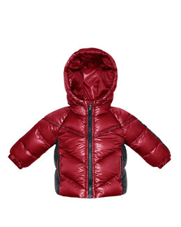 Moncler Cyprien Hooded Nylon Coat, Red, 3-18 Months