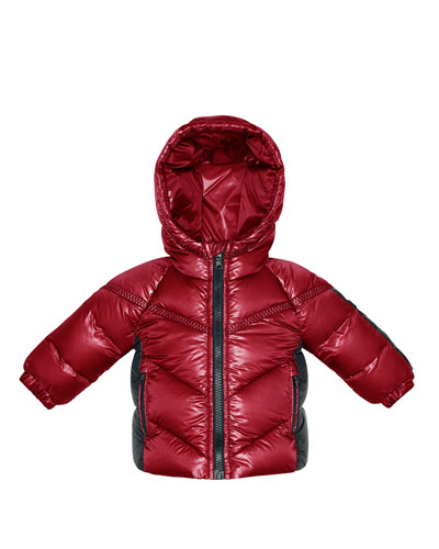 Cyprien Hooded Nylon Coat, Red, 3-18 Months