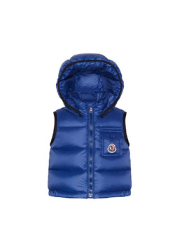 Moncler Brice Quilted Nylon Vest with Hood, Navy, 3M-3T