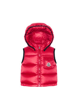 Moncler Brice Quilted Nylon Vest with Hood, Pink, 3M-3T