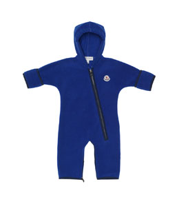 Moncler Hooded Fleece Coverall, Blue, 3M-3T