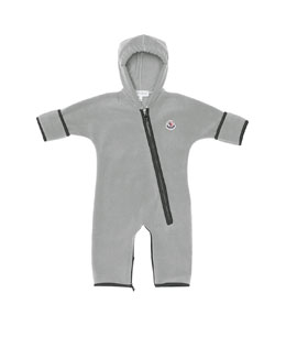 Moncler Hooded Fleece Coverall, Gray, 3M-3T