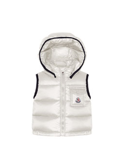 Moncler Brice Quilted Nylon Vest with Hood, Cream, 3M-3T