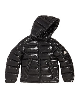 Moncler Maya Shiny Nylon Jacket, Black, Sizes 8-14