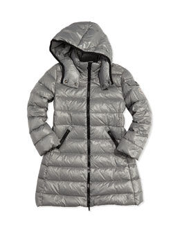 Moncler Moka Long Quilted Puffer Coat, Silver, Sizes 8-14