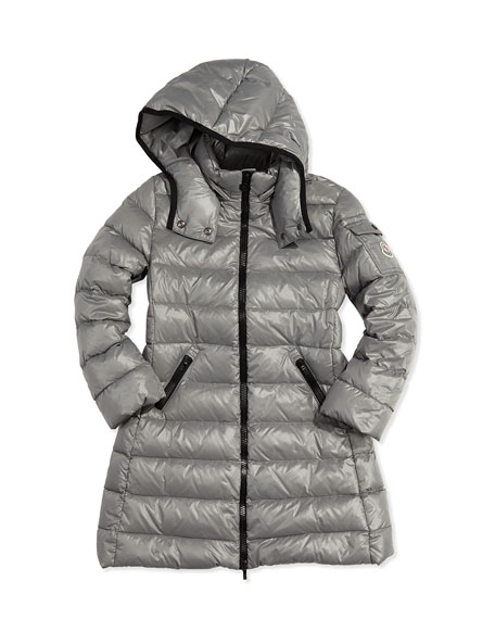 moncler moka long shiny puffer black