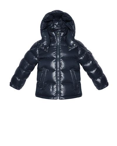 Maya Shiny Nylon Jacket, Navy, Sizes 2-6
