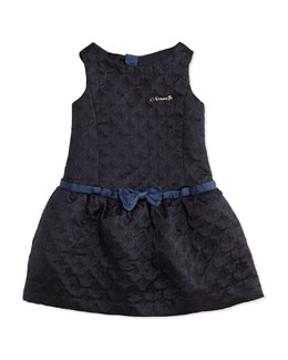 Armani Junior Quilted Belted Sateen Dress, Navy, Sizes 2-8