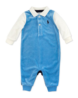 Ralph Lauren Childrenswear Velour Coming & Going Coverall, Northern Sky, 3-9 Months