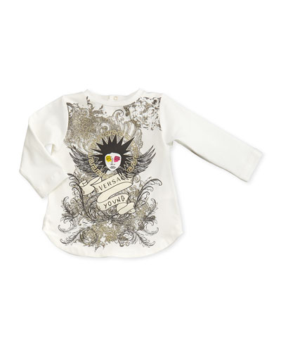 Versace Punk-Medusa Graphic Tunic, White, 12-24 Months