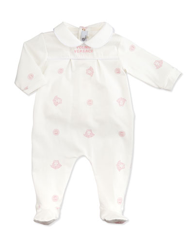 Versace Medusa-Print Pleated Footie, White Pink, 1-9 Months