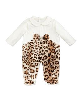 Roberto Cavalli Stretch-Knit Leopard-Print Footie, 12-24 Months