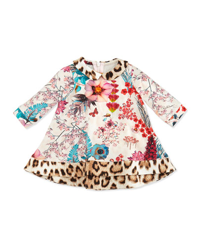 Roberto Cavalli Floral-Print Long-Sleeve Dress, Multi, 12-24 Months