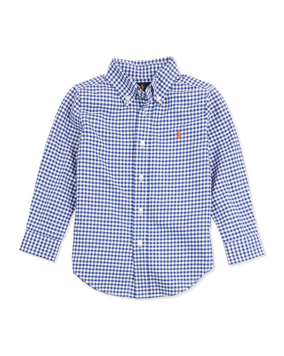 Ralph Lauren Childrenswear Blake Gingham Oxford Shirt, Royal, 2T-3T
