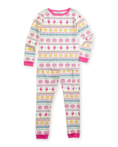 Reindeer Fair Isle Pajama Set, Sizes 2T-8