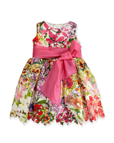 Helena Garden Party Printed Guipure Lace Dress, Sizes 2-6X