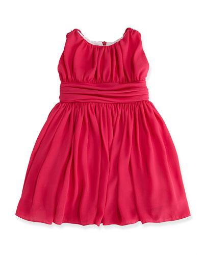 Shirred Chiffon Dress, Fuchsia, Sizes 2-6X
