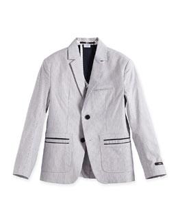 Striped Cotton-Blend Sport Coat, Blue/White, Size 4-10