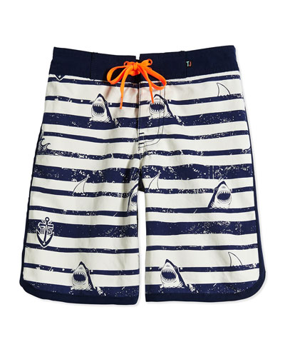 Sergeant Shark Retro Board Shorts, Fuel, Boys