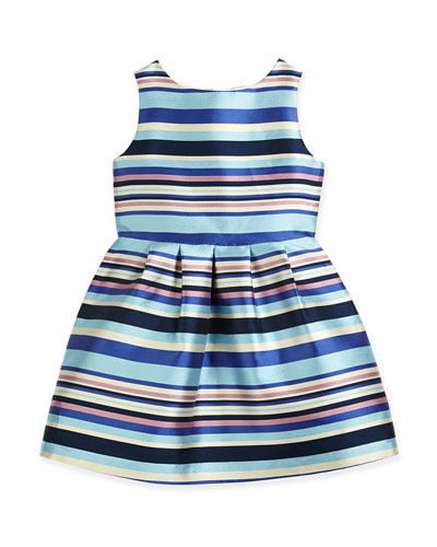 Ribbon-Stripe A-Line Dress, Blue, Size 2-8