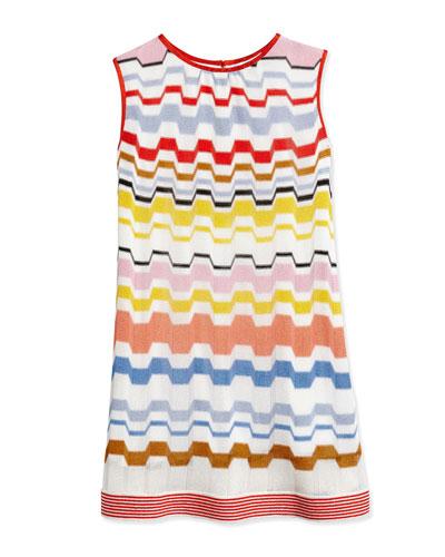 Greca Zigzag-Stripe Dress, Multicolor, Size 2T-10