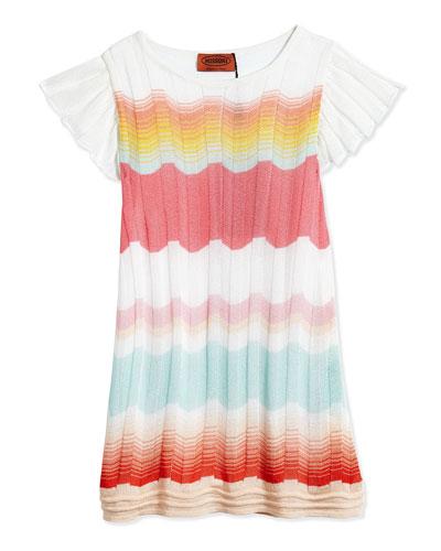 Greca Sfumata Zig Zag-Stripe Dress, Multicolor, Size 2T-10