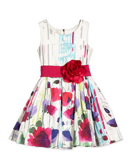 Sleeveless Floral Party Dress, White/Multicolor, Size 2-6X