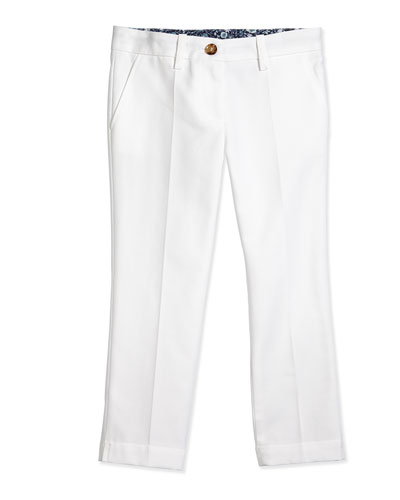 Pleated Pique Pants, White, Size 4-12