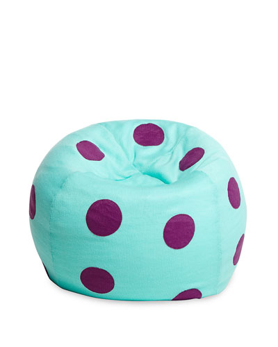 Polka-Dot Beanbag Chair, Teal/Purple