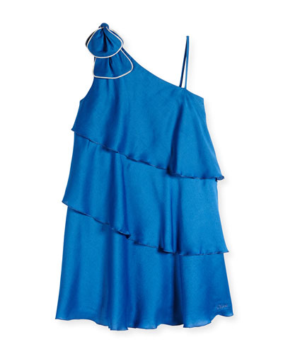One-Shoulder Tiered Dress, Blue, Sizes 2-6