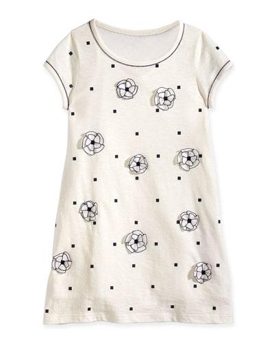 Square-Print Jersey Dress w/ Floral Detail, Off White, Size 8-14