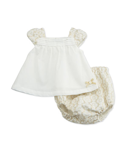Pleated Shift Dress w/ Floral Jacquard & Bloomers, Cream, Size 3-18 Months