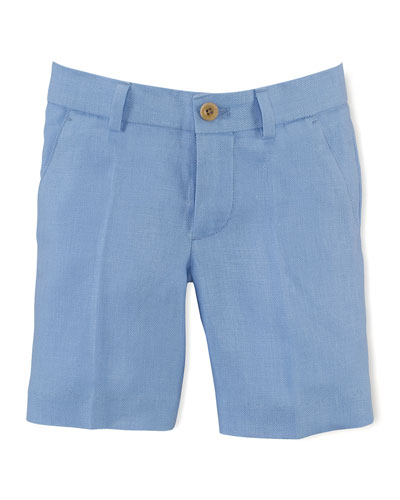 Linen Herringbone Preppy Shorts, Austin Blue, Size 2-7