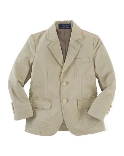 Three-Button Sport Coat, Khaki, Size 2-7