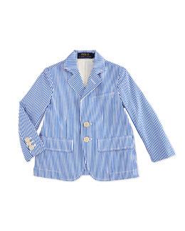 Striped Poplin Jacket, Blue/White, Size 2-7