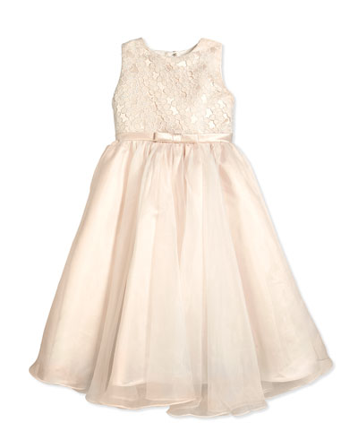 Sleeveless Organza Satin Dress, Ivory/Petal, 2-14