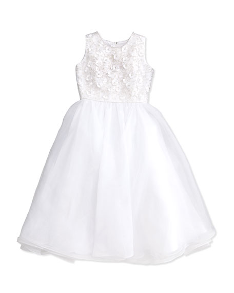 Joan Calabrese Floral Applique Beaded Sleeveless Dress, White,