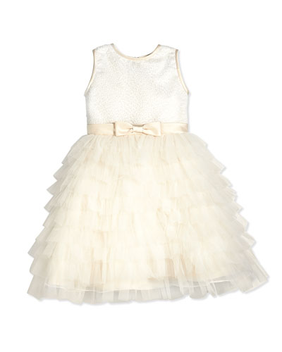 Sleeveless Sequin Tiered Dress, Ivory, Size 2-14