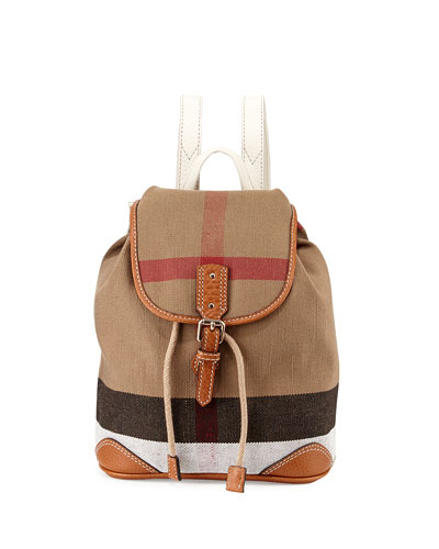 Children's Mini Leather-Trim Canvas Backpack, White/Tan