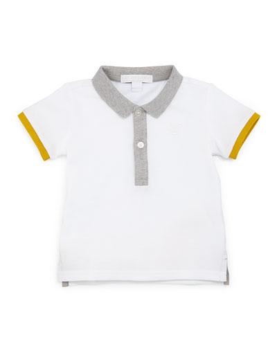 Mini Leigham Colorblock Polo Shirt, White, Size 3M-3Y