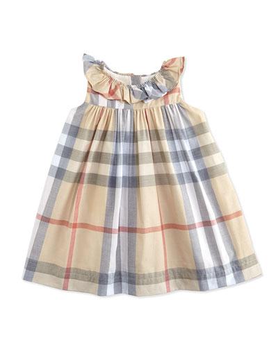Ruffle-Collar Check Dress, Pale, 3-24 Months