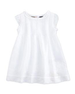 Tessie Pintuck Dress, White, Girls' Sizes 3M-3Y