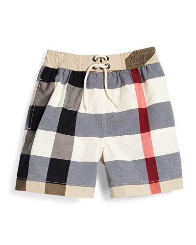 New Classic Check Swim Shorts, Tan, Size 4-14